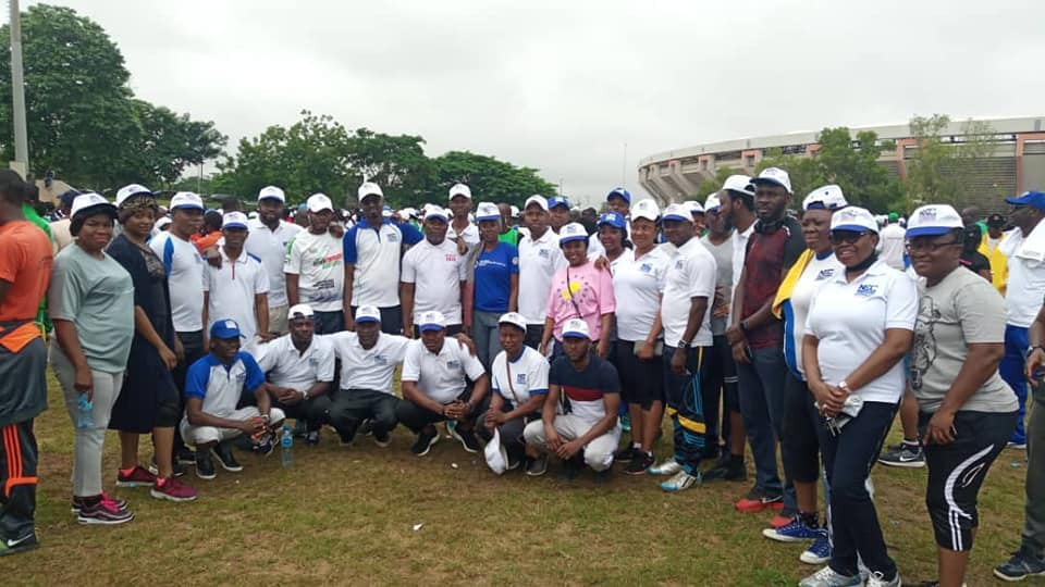 NCC staff partake in the monthly FG's Keep-Fit Exercise